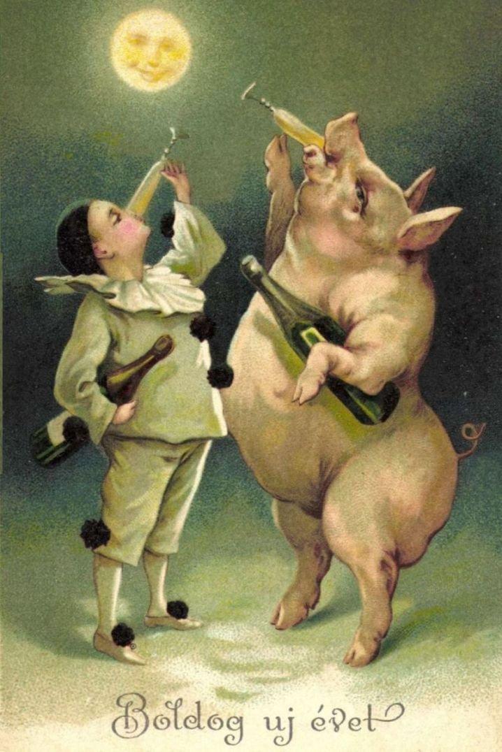 Новогодние старые открытки год свиньи, открытки открытки