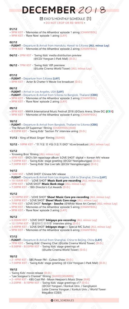 exo schedule exo schedules twitter