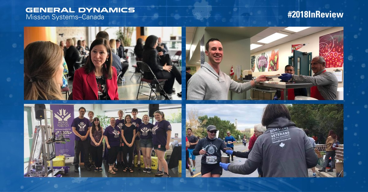 #2018InReview: Community engagement is at the core of our mission. In 2018, we invested in our future leaders supporting Merge Robotics (@frc2706) + @WiDS_Canada, gave back to our community (@UnitedWay) and supported the @CanadianForces through the @CanadaArmyRun. #GDMSCsupports