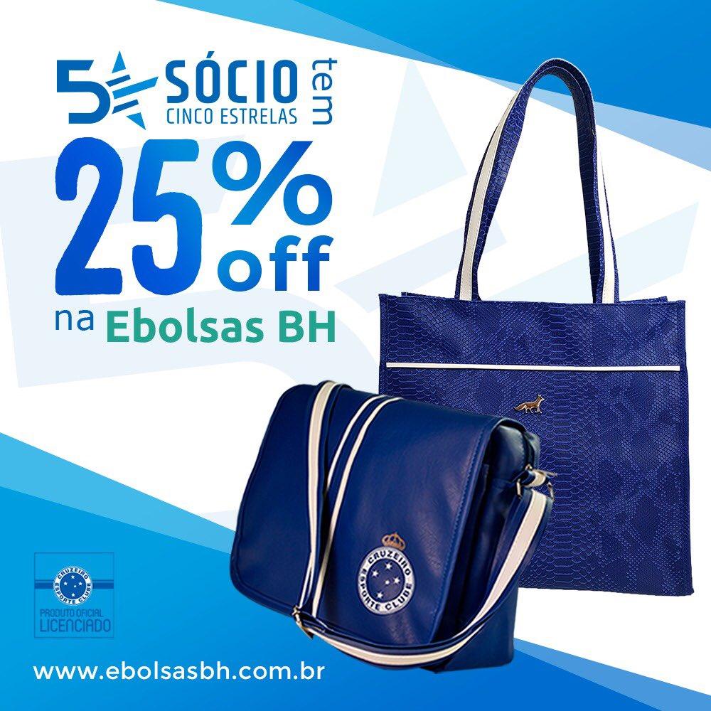 """a1fc23c6b socio5estrelas tem 25% de desconto nas bolsas licenciadas de ótima  qualidade da """"Ebolsas BH""""."""