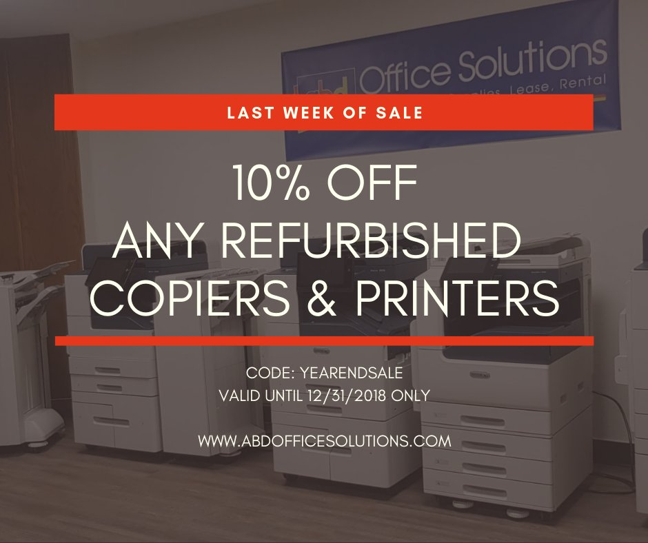 Get 10 Off On All Refurbished Copiers And Printers Brands Include Xerox Sharp Toshiba Ricoh Canon Konica Minolta Kyocera HP