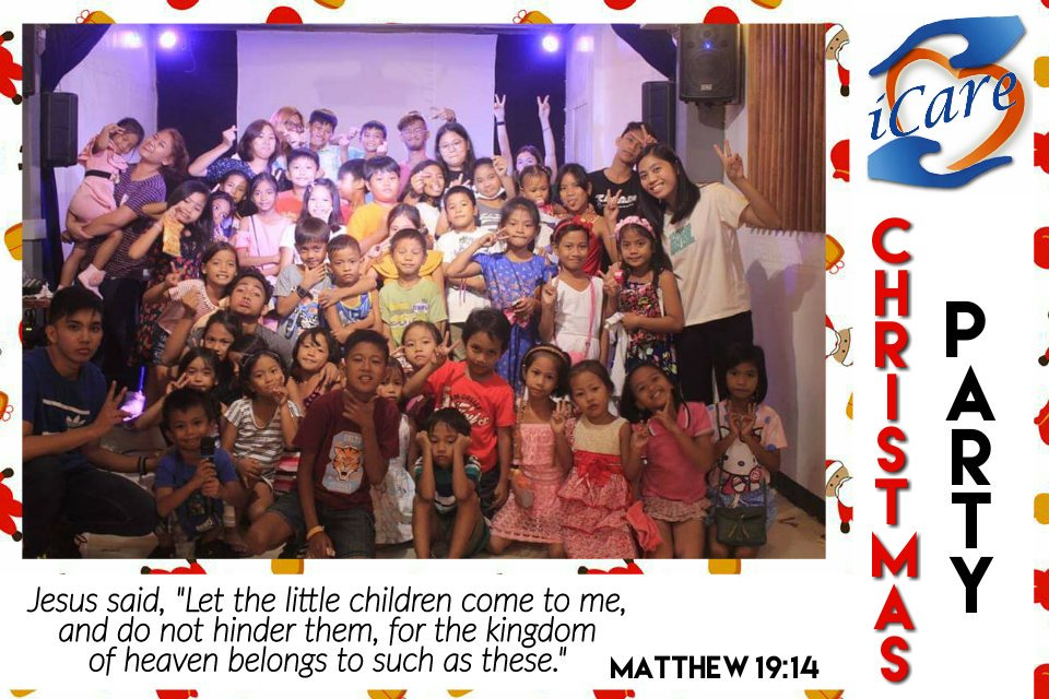 "KIDDOZ Christmas Party 2018 Children from our mother church - Poblacion and Extension Services - Talisay and Tenejero.  Matthew 19:14 NIV Jesus said, ""Let the little children come to me, and do not hinder them, for the kingdom of heaven belongs to such as these.""  #ICare #Kiddoz"