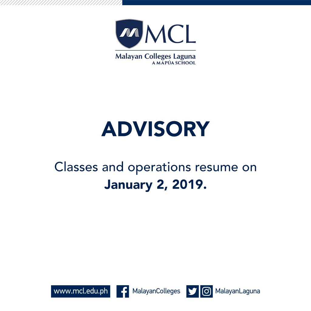 Malayan Colleges Laguna Mcl On Twitter Reminder Classes And