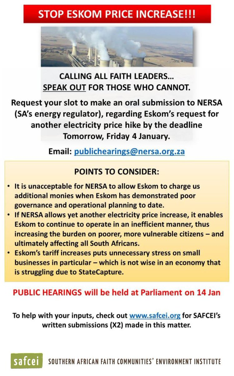 NERSA Public Hearings: Have your say on the Eskom tariff increase request safcei.org/nersa-public-h…