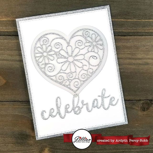 I am on the #ajillianvancedesign blog today with this elegant card suitable for a wedding or anniversary using the new Swirly Heart die and Celebrate Grande Greetings die. #cardmaking #handmadecards #maskeradecards http://bit.ly/2TpSz5j