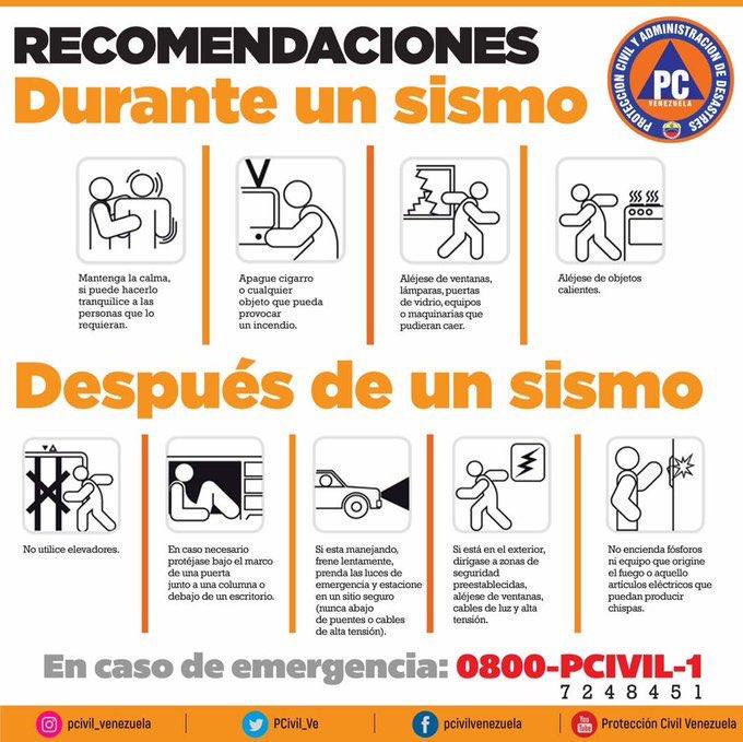 Sigue estás recomendaciones:  Qué hacer durante una emergencia #Temblor #Sismo #Venezuela @MiriamPardoJ @RMarcoTorres @direc_pcaragua @PC_Aragua @PCivil_Ve @NicolasMaduro #TeQuieroCagua