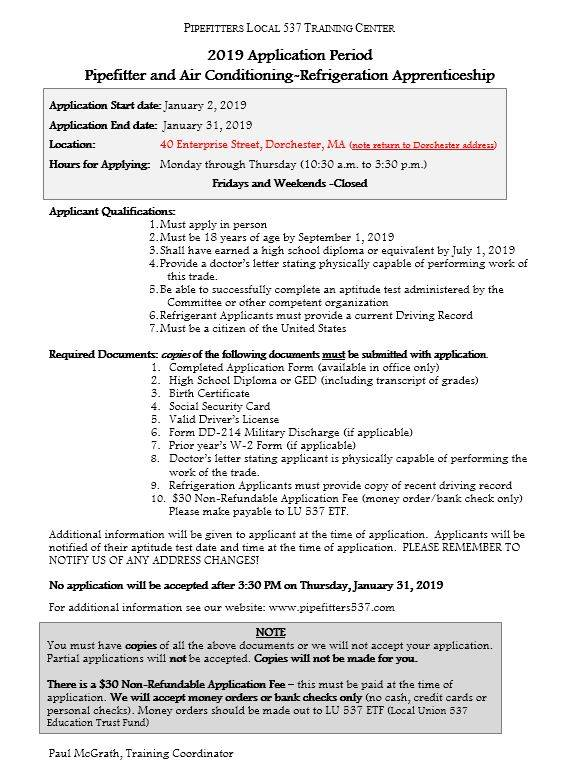 January 2019 Application for Apprenticeship with Pipefitters 537 and @BK537.   @Tradeswomenyes @H2Hjobfairs @PGTIBoston @BldgPathways<br>http://pic.twitter.com/BD96NQkmYP