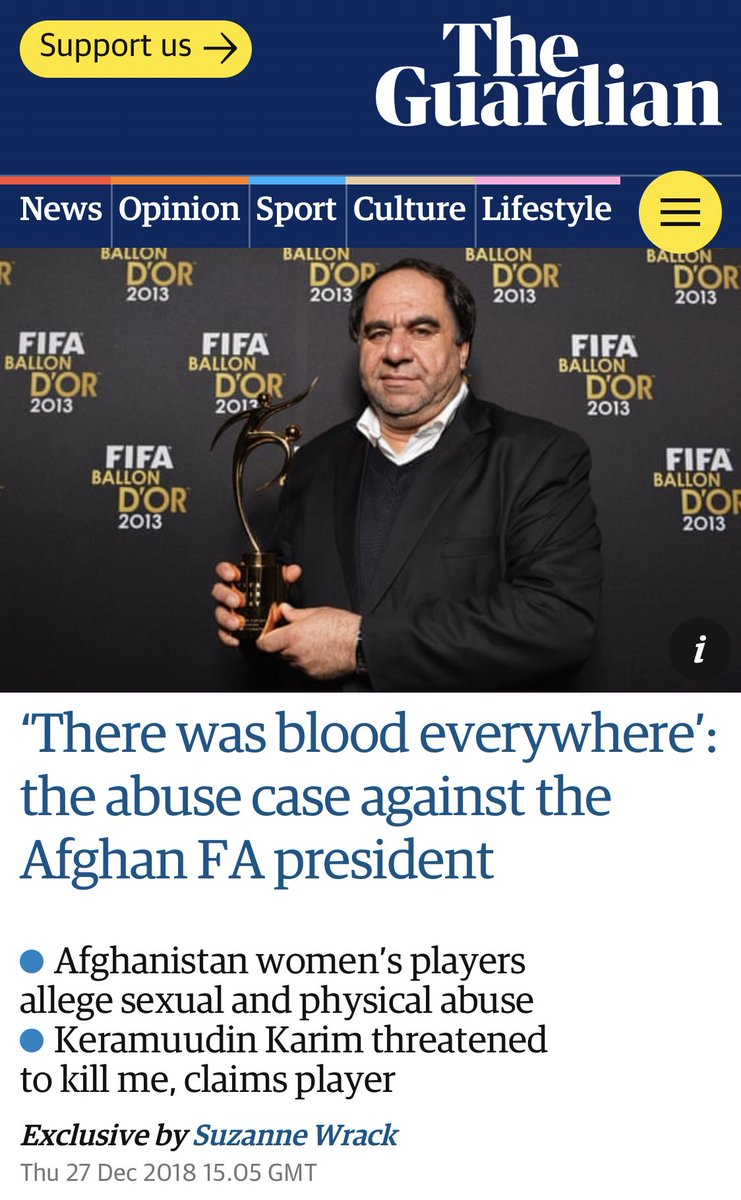 Exclusive: I spoke to four brave victims about their horrific abuse at the hands of the Afghanistan Football Federation President for @guardian_sport - 'There was blood everywhere': the abuse case against the Afghan FA president https://www.theguardian.com/football/2018/dec/27/sexual-abuse-allegations-afghan-fa-president-keramuudin-karim …