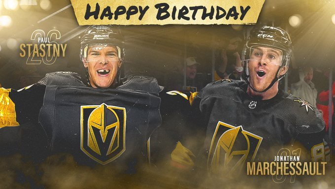 We\ve got two birthdays today!!!  Everyone wish a happy birthday to Jonathan Marchessault and Paul Stastny!