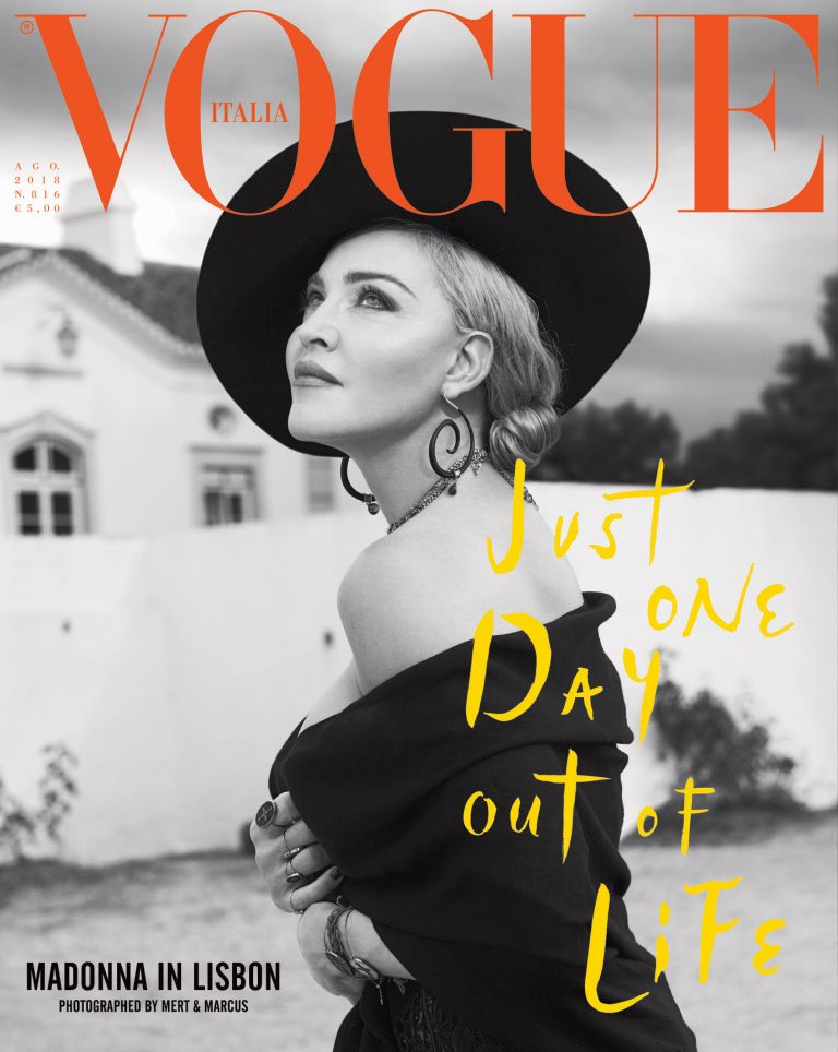 Another highlight from the past year was Vogue Italia celebrating Madonna's 60th birthday with a dual cover issue featuring an interview and a photshoot by Mert & Marcus in Lisbon http://news.madonnatribe.com/en/2018/just-one-day-out-of-life-vogue-italia-celebrates-madonnas-60th-birthday/… #TBT #Madonna2018