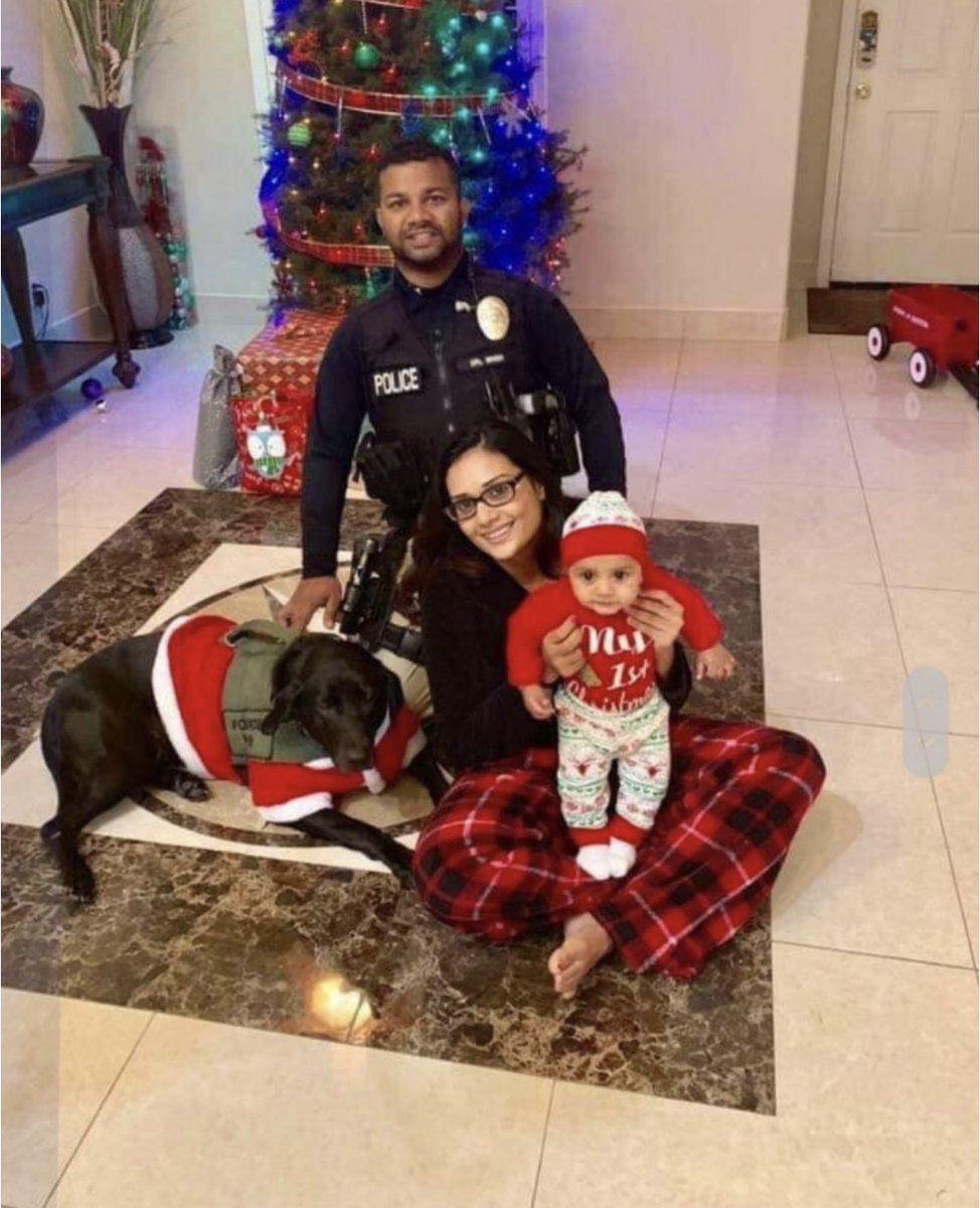 This is Newman, CA Police Officer Ronil Singh, his pretty young wife, and beautiful baby on Christmas Day, just five hours before he was shot and killed by an illegal alien.   He was beloved in his department and his community.