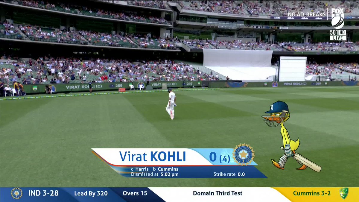 "Fox Cricket on Twitter: ""Out! A duck for Kohli too. He's fallen for the exact same trap as Pujara. Cummins has 3-2 📺 Watch LIVE on Fox Cricket & 📰 join our"
