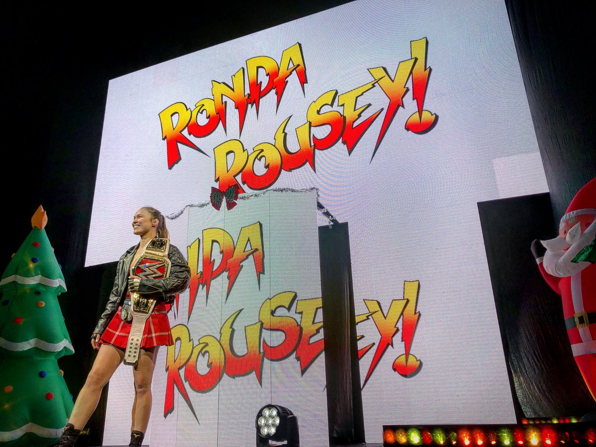 """@RondaRousey is here to show #WWEColumbus why they call her the """"Baddest Woman"""" on the planet! <br>http://pic.twitter.com/PCpRMe72XH"""