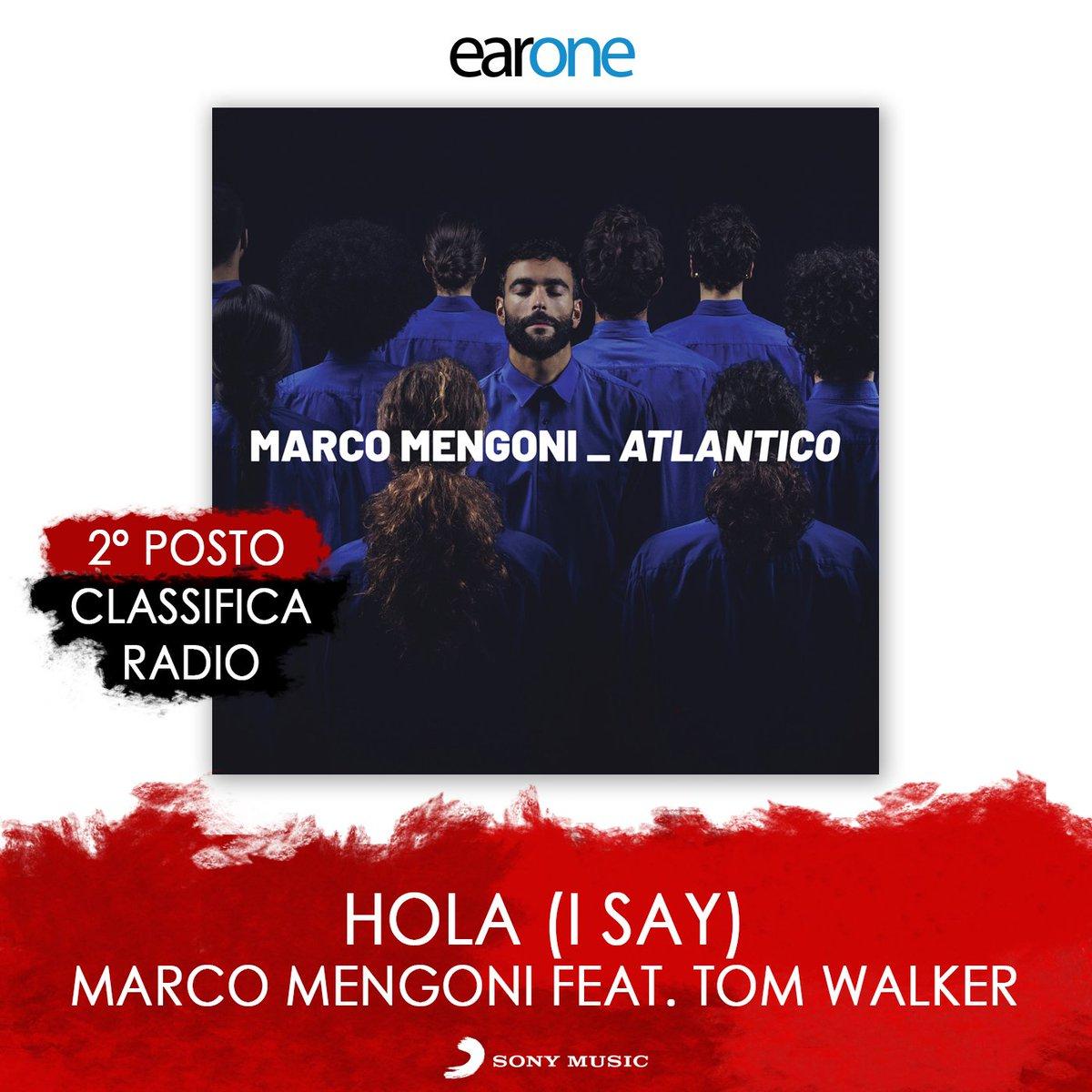 #Hola (I SAY) è al secondo posto tra i brani più passati dalle radio 🌊📻 Complimenti 👏 @mengonimarco @IamTomWalker
