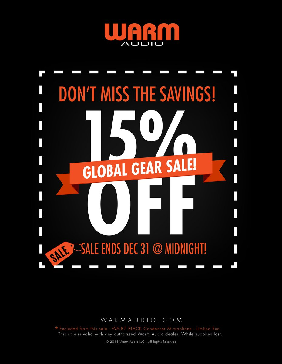 The clock is ticking on @WarmAudio's #GlobalGearSale - get awesome gear like the #WA87, #WA76, and #WA73EQ at 15% off! Check the link to find your nearest dealer, but hurry, because this offer ends on 12/31!  https://warmaudio.com/worldwide-dealers/ …