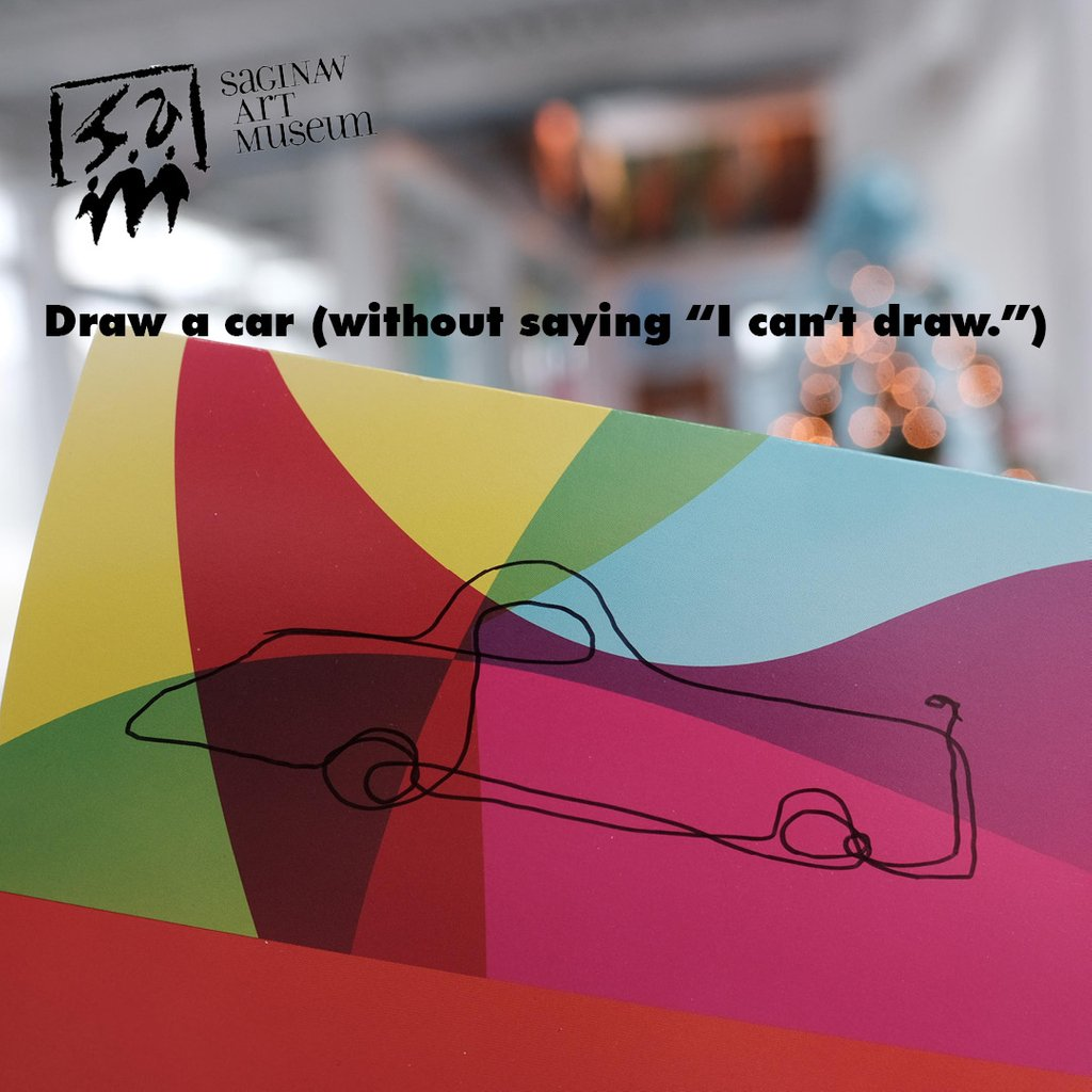 get those creative juices flowing into the new year getcreative2019 saginawartmuseum get creative day 1 draw a car without saying i cant draw