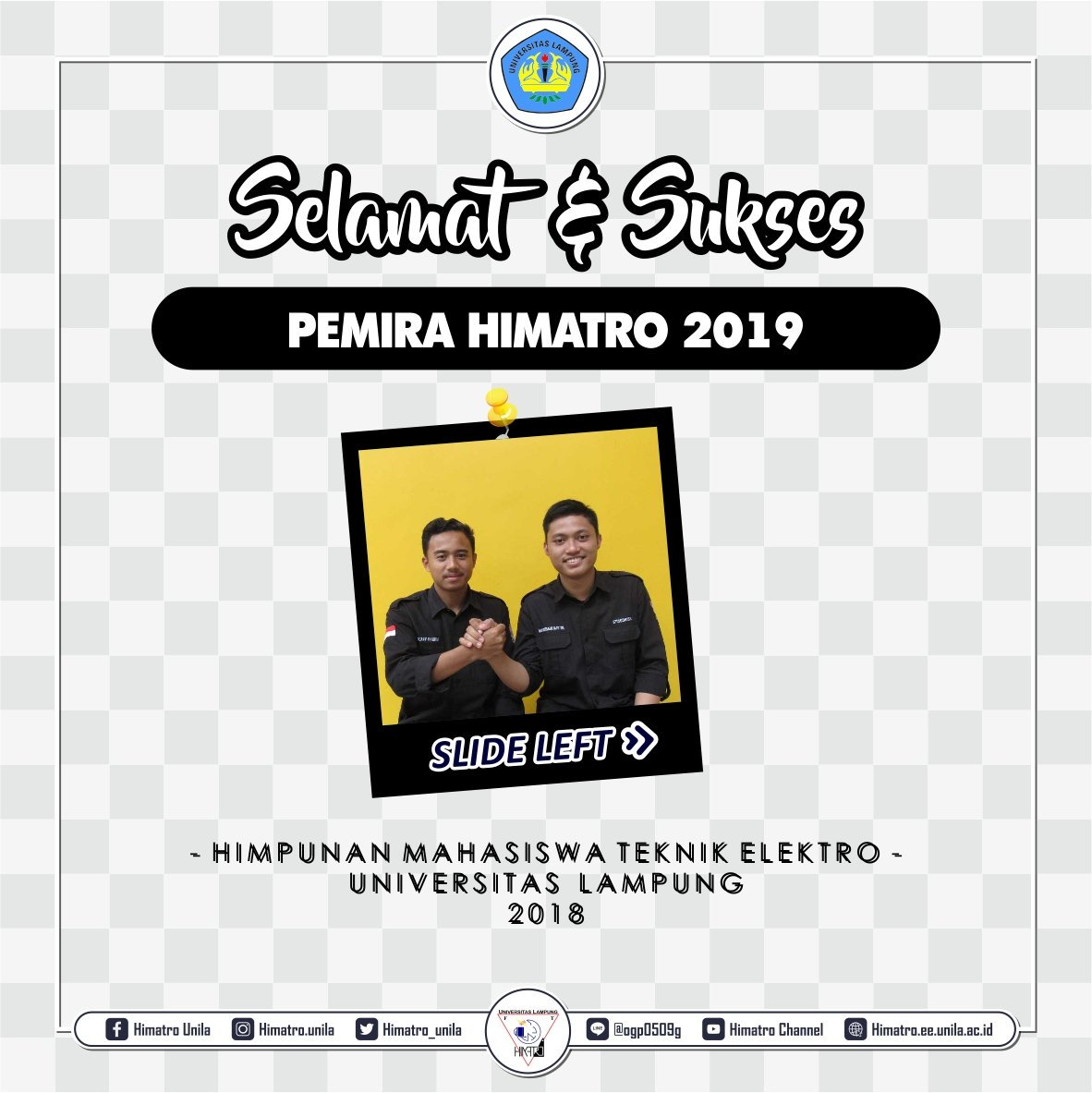 #HIMATRO_SHARE  (28/12/2018) Selamat dan Sukses! kepada pasangan Ocazy Harun dan Rio Nurman Saputra sebagai Ketua dan Wakil Ketua Terpilih. Himpunan Mahasiswa Teknik Elektro Periode 2019.  Himatro..!! Luar Biasa!!   #PEMIRA2019 #HIMATRO #UNILA #LUARBIASApic.twitter.com/sADh7e8WMm