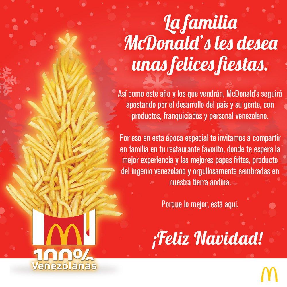Feliz Navidad Siempre Asi.Mcdonald S Venezuela On Twitter Mcdonald S Venezuela Hoy
