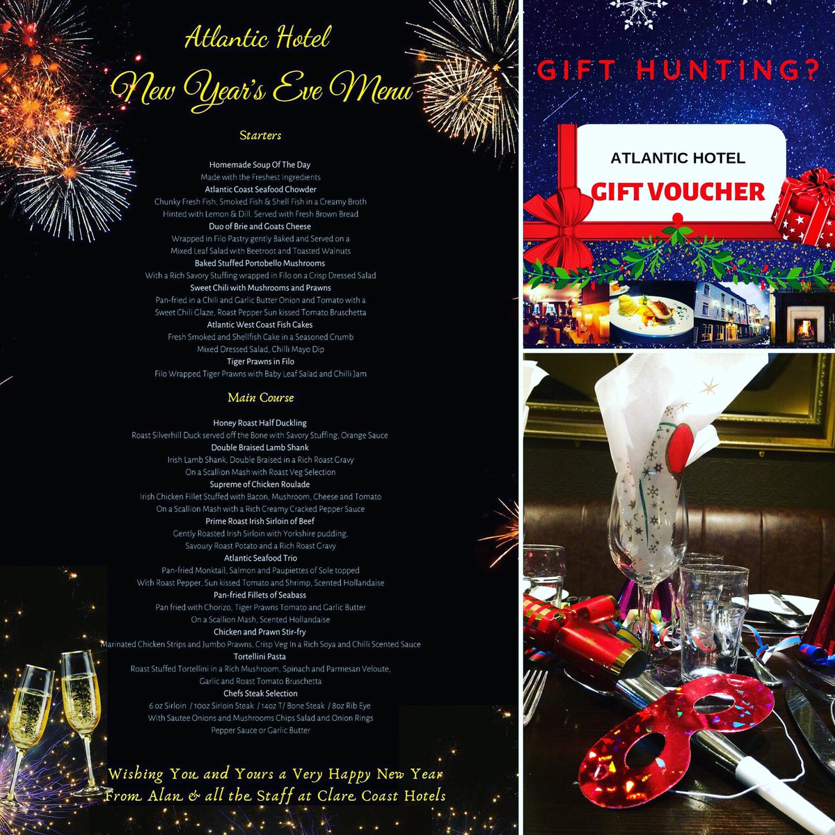 Clare Coast Hotels On Twitter Counting Down Our New Year Seve Menu Looks Delicious Atlanticlahinch And Live Music At Shamrocklahinch Lahinch