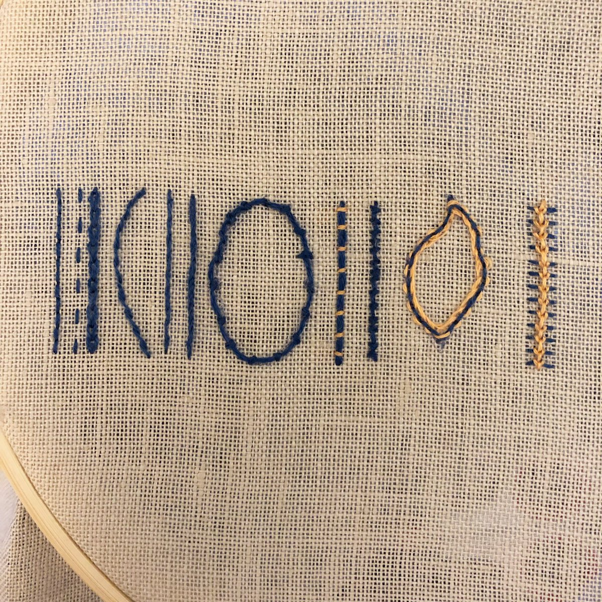 Nathania Johnson On Twitter I M Making A Stitch Sampler This Section Is Outline Stitches From Left To Right Back Stitch Running Stitch Chain Stitch Stem Stitch Split Stitch Quaker Stitch Coral Stitch