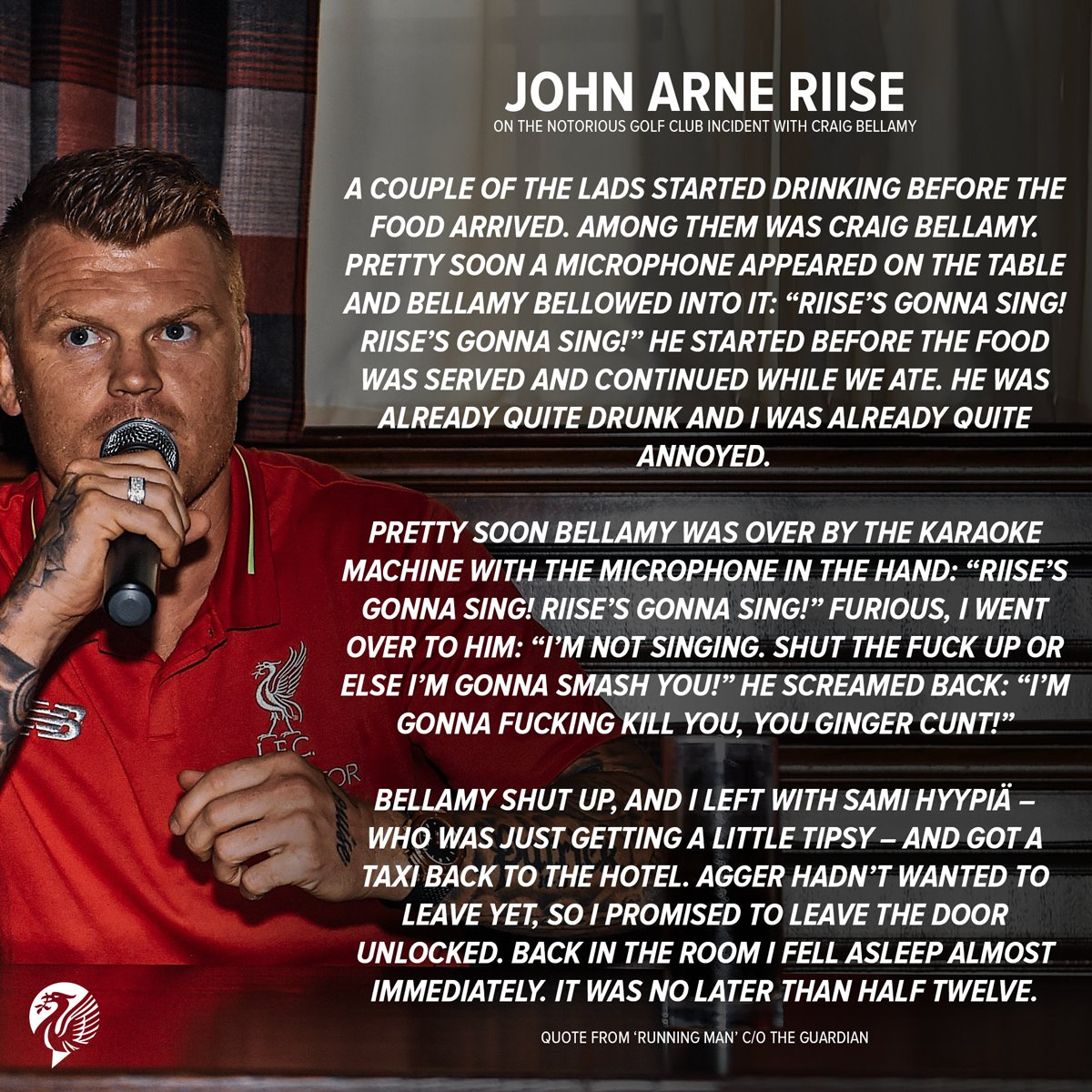 Lfcstuff On Twitter John Arne Riise Opened Up About His Notorious Golf Club Incident With Craig Bellamy In His New Book Running Man It Lives Up To Expectation Lfc