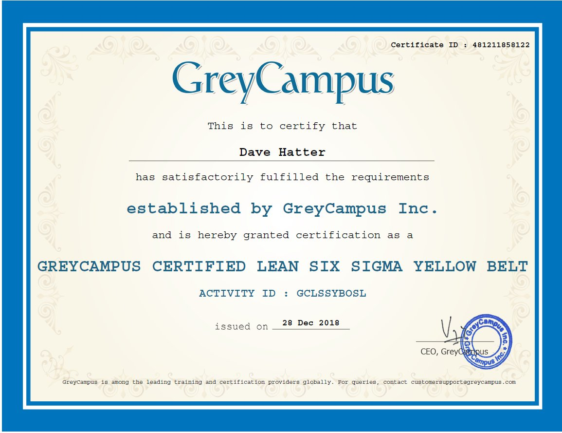Dave Hatter On Twitter Knocked Out The Lean Six Sigma Yellow Belt
