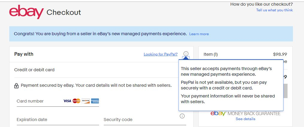 Artem Russakovskii A Twitter Lolwut Ebay Rolled Out A New Checkout Experience Which Doesn T Even Support Its Own Paypal Service I Ve Always Paid For Ebay Items With Paypal What A Weird And