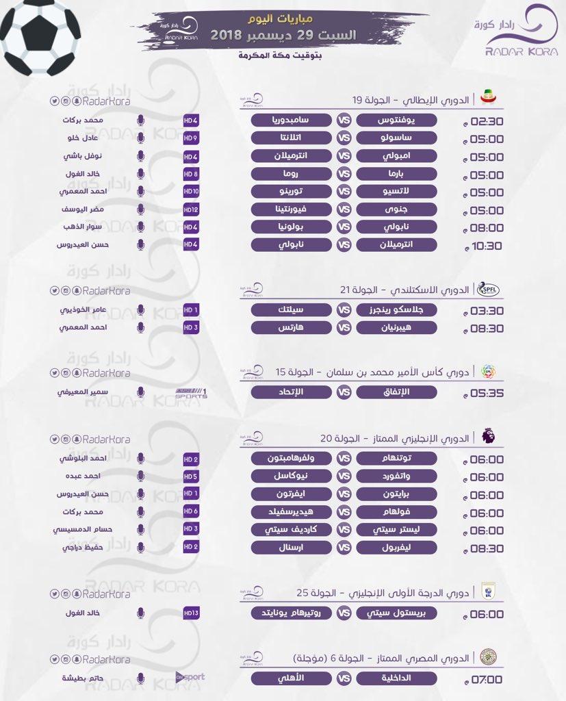جدول مباريات اليوم السبت 29-12-2018 والقنوات الناقلة والمعلقين 25