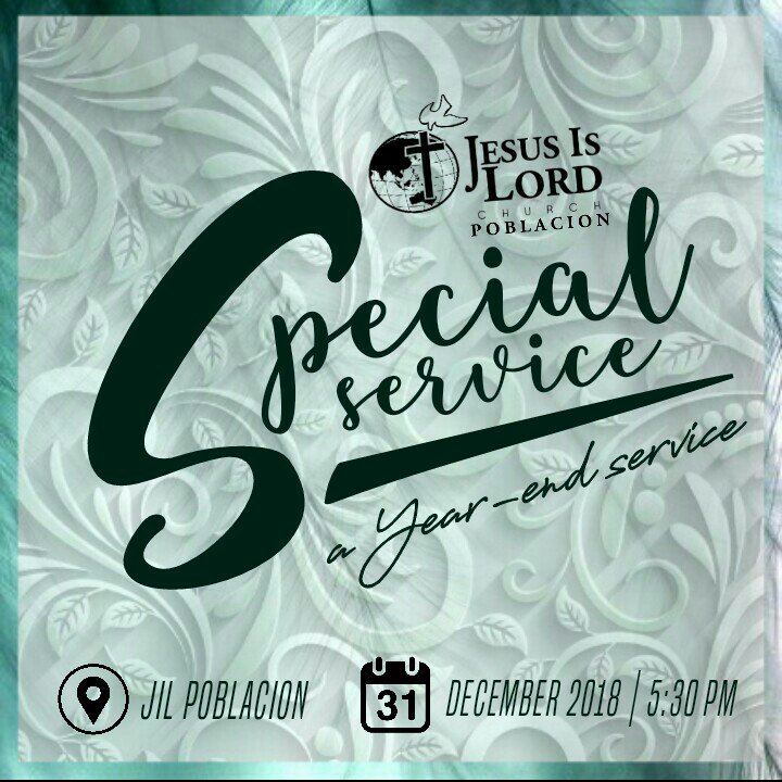 Let us end 2018 rejoicing and praising the Lord and welcome the 2019 given to us with victory and thanksgiving! Join us in our special YEAR-END THANKSGIVING CELEBRATION to welcome the New Year with signs, wonders and miracles! See you!  December 31, 2018 5:30 PM  #JesusIsLord