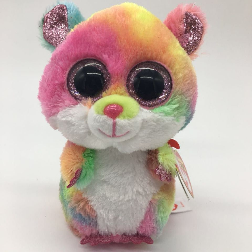 53026b00859  goldenhamster  likeforfollow RODNEY - multi colored hamster with heart tag  and label mouse TY BEANIE BOOS 1PC 15CM 6