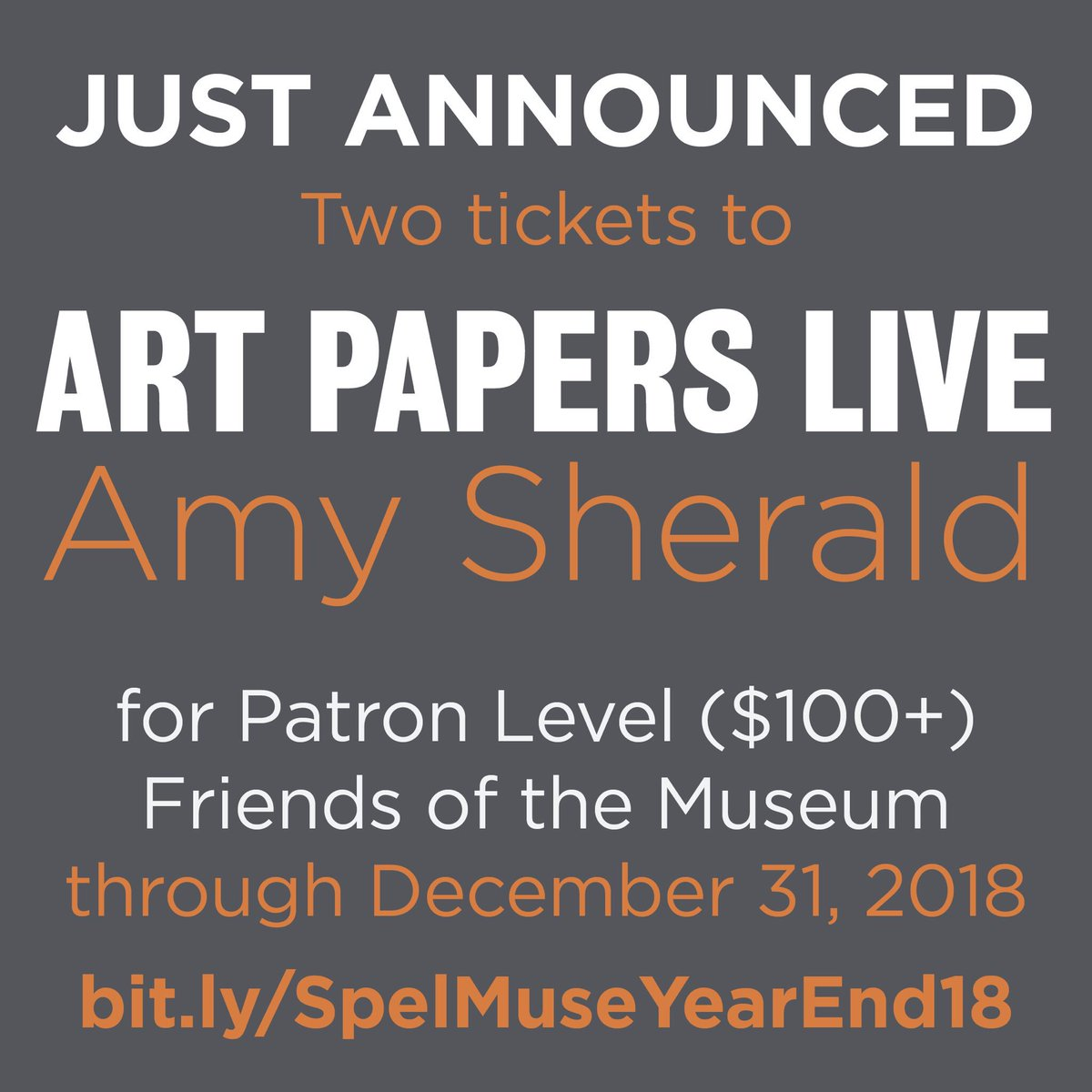 ICYMI: Become a Friend of the Museum at the $100 Patron Level by 12/31 and receive two reserved seats to Art Papers LIVE: Amy Sherald. Make your gift SOON!   http://bit.ly/SpelMuseYearEnd18…  #investspelmuse #spelmuse #art #fineart #womeninart #philanthropy  @artpapers @WaltonFamilyFdn