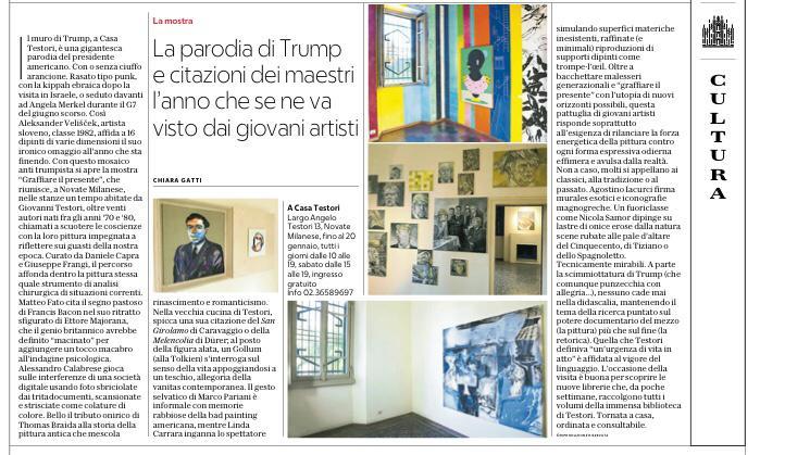 #GraffiareIlPresente sulla pagina di #Milano di @repubblica una bella recensione di #ChiaraGatti sulla mostra a @CasaTestori curara con @robedachiodi con oltre venti dei più significativi pittori italiani nati negli anni 70 e 80
