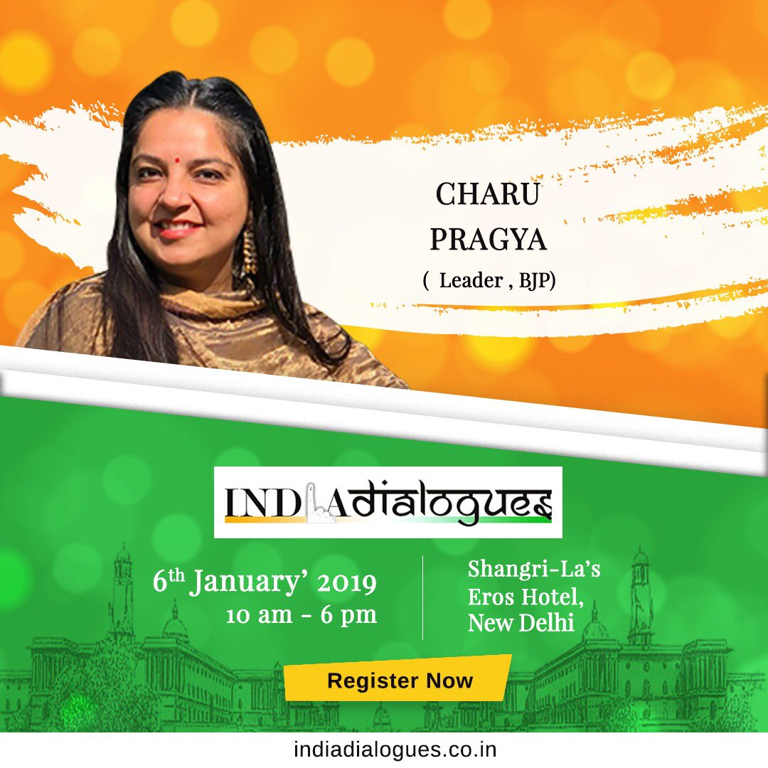 Register & be a part of #IndiaDialogues.  6th Jan 2019 10 am onwards Shangrila Hotel @IndiaDialogues @CharuPragya   Register now : http://indiadialogues.co.in