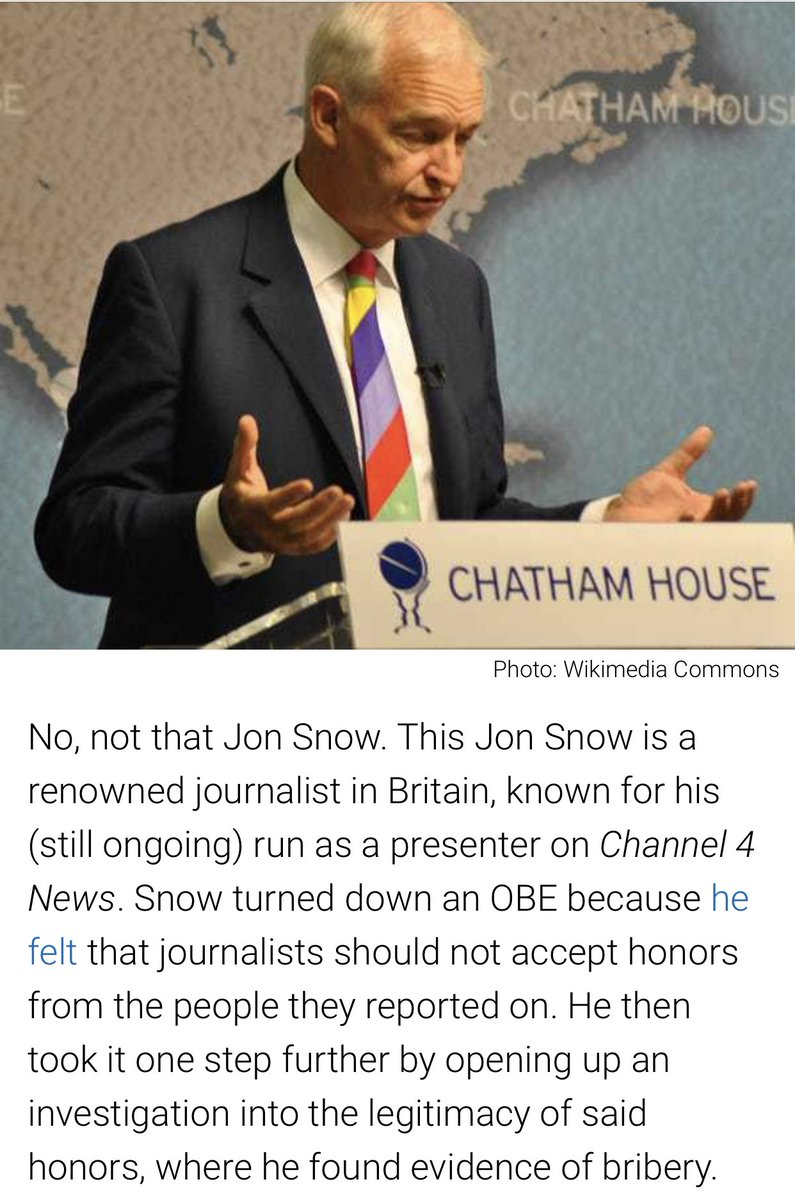 @jonsnowC4 declined a OBE and then investigated the honours list, uncovering bribery. We need more Jon Snow's.