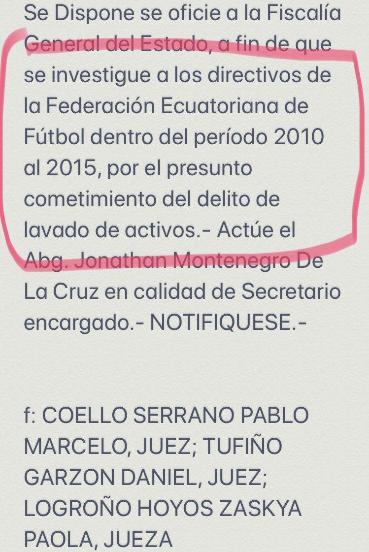ATENCIÓN | Dentro de la providencia del tribunal contra Luis Chiriboga que lo envió a la cárcel de Latacunga, se lee esto👇🏽@FEFecuador