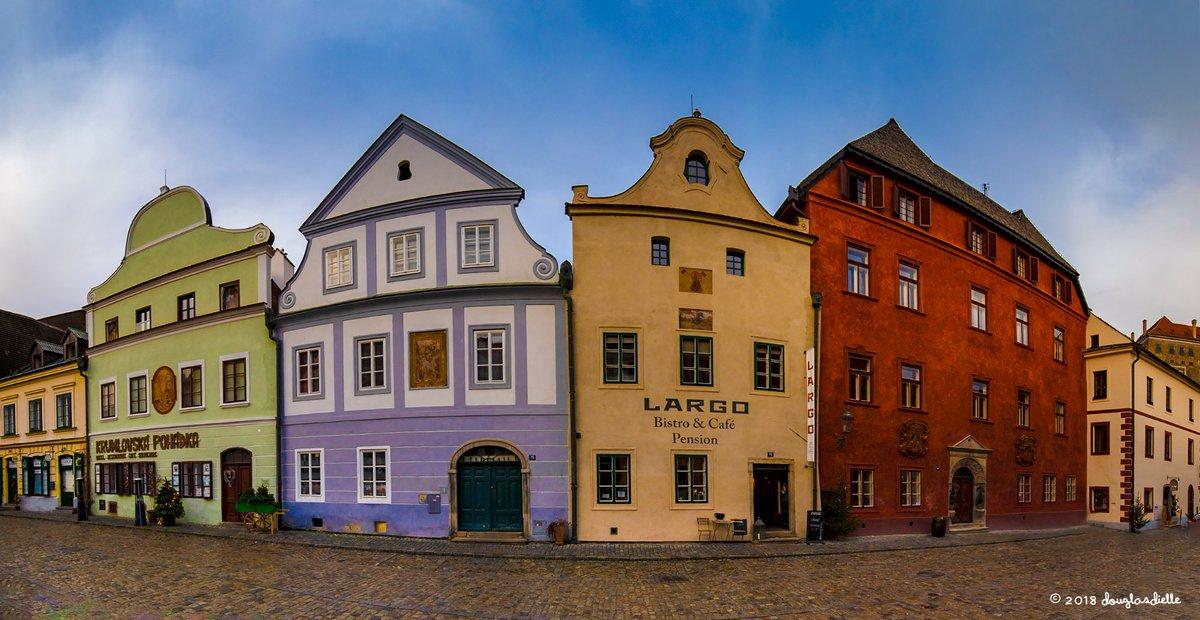 Buildings along Široká - the broadest street in Český Krumlov