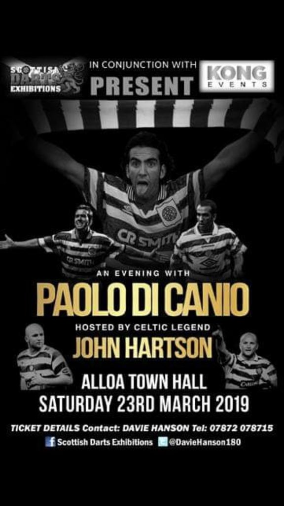 Paolo Di Canio Live ⚽️ Alloa Town Hall Scotland 🏴󠁧󠁢󠁳󠁣󠁴󠁿 Saturday March 23rd Hosted By Celtic Legend John Hartson, Tickets Available ⚽️ @celticfcbloke @celticstarpod @CelticFC @CelticFCSLO @JohnHartson10 @KongEvents @CelticTV @celtic @CelticStarMag RT Please