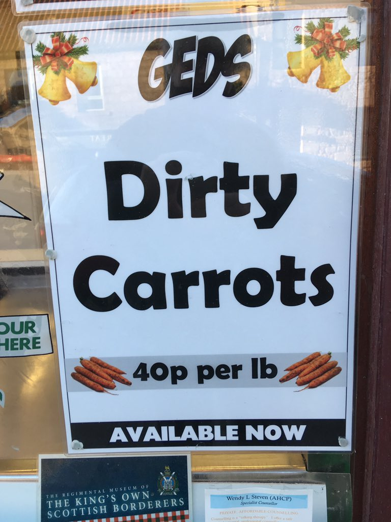 Top signs in Berwick today #dirty #carrots #dirtycarrots #design #poster #print #text #textasart https://t.co/XDb2HNxKhq
