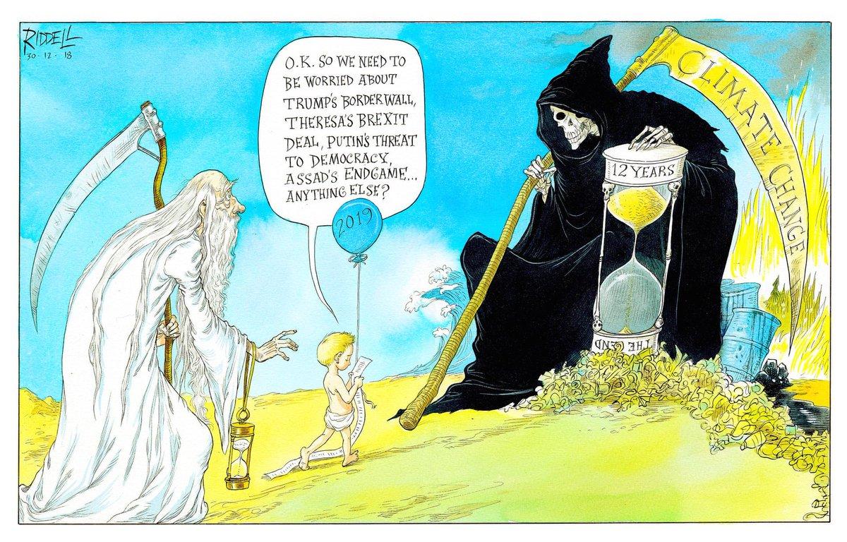 Political Cartoon On Twitter Chris Riddell On 2019 A Grim Year