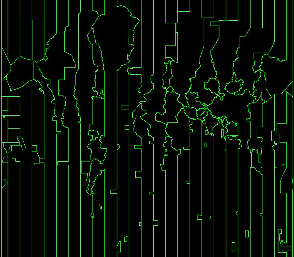 A map of the world made from timezones