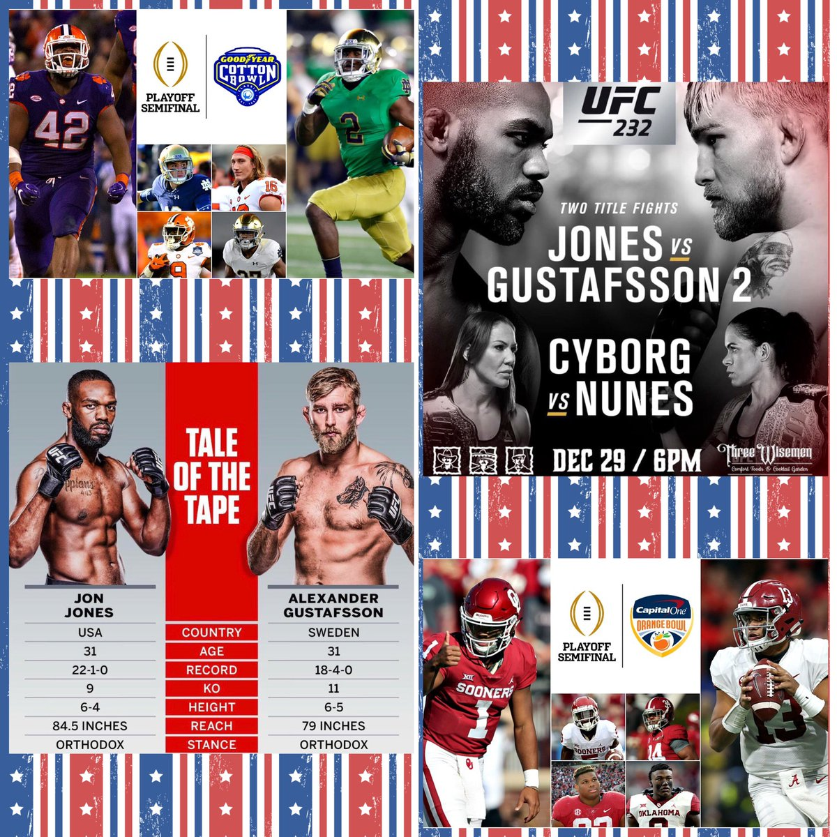 UFC 232 Jones vs Gustafsson 2 + Cyborg vs Nunes + College Football Semifinals (Clemson vs Notre Dame & Alabama vs Oklahoma) ... Many TVs for your Viewing Pleasure  ... Table Reservations Recommended Contact @GemRayMedia at 480.772.7613 (Text) ... http://www.threewisemenaz.com 📲