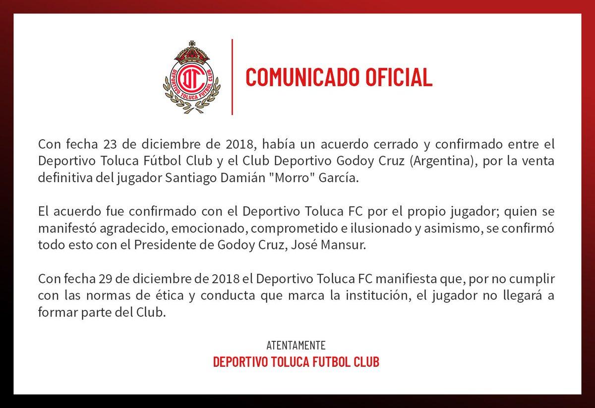 El comunicado de Toluca sobre 'Morro' García