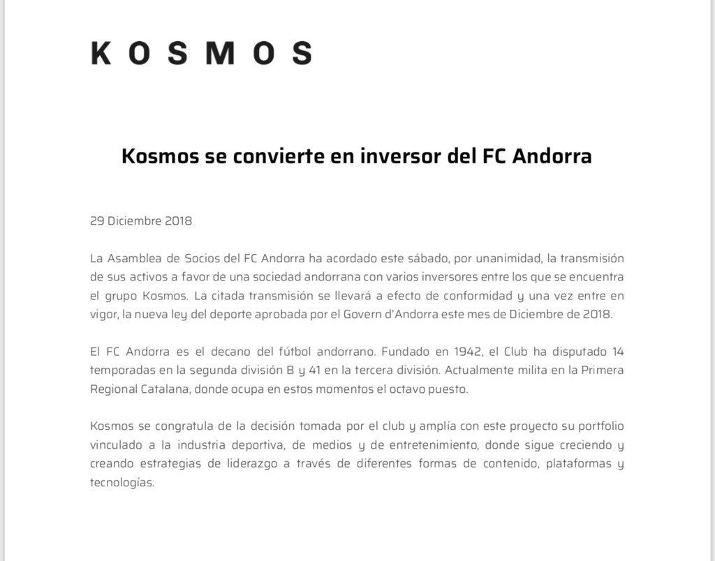 Kosmos, nuevo inversor de @FCA_oficial
