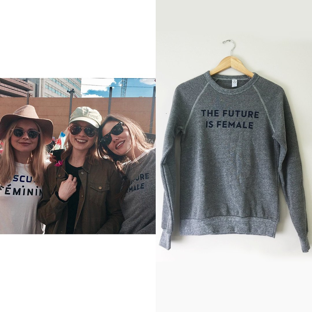 1f9f184b1 21 January [2017] | On Phoebe Tonkin IG post wearing #otherwild The Future  Is Female Sweatshirt - Limited Edition in Grey ($60) and her usual #rayban  ...