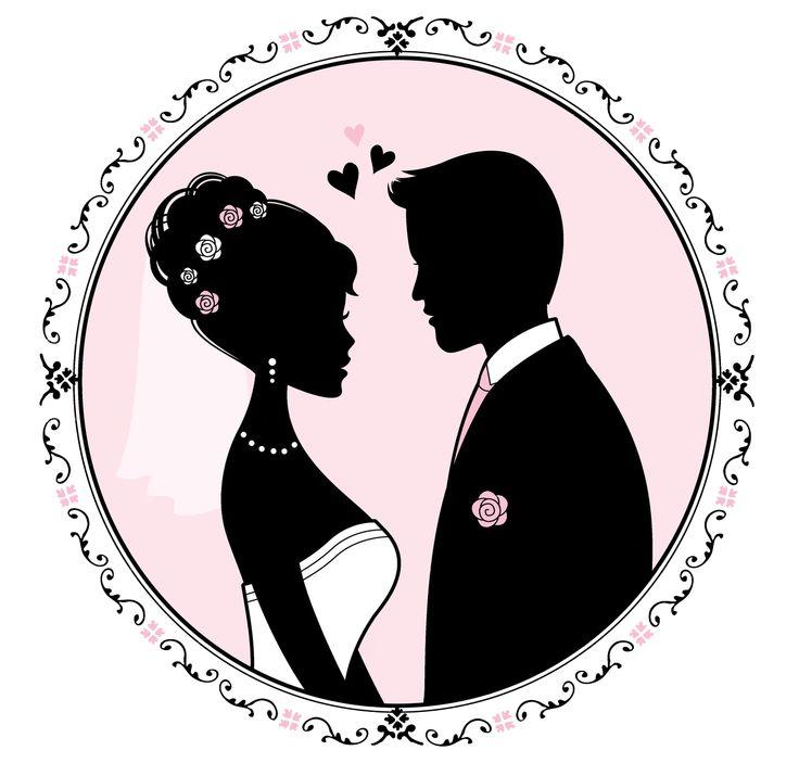 Силуэт жениха и невесты для открытки, защиты детей открытки