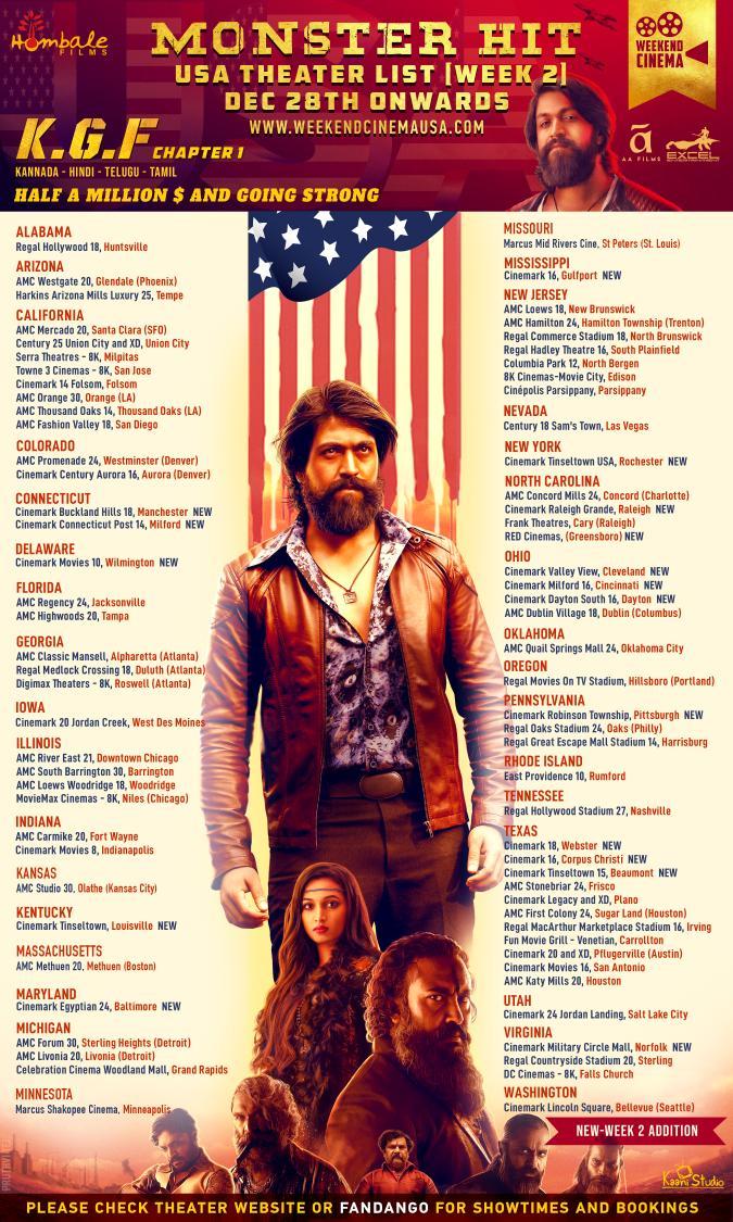 #KGF USA Theater list.. @WeekendCinemaUS @sgeleyarabalaga @hombalefilms @excelmovies #AAMovies