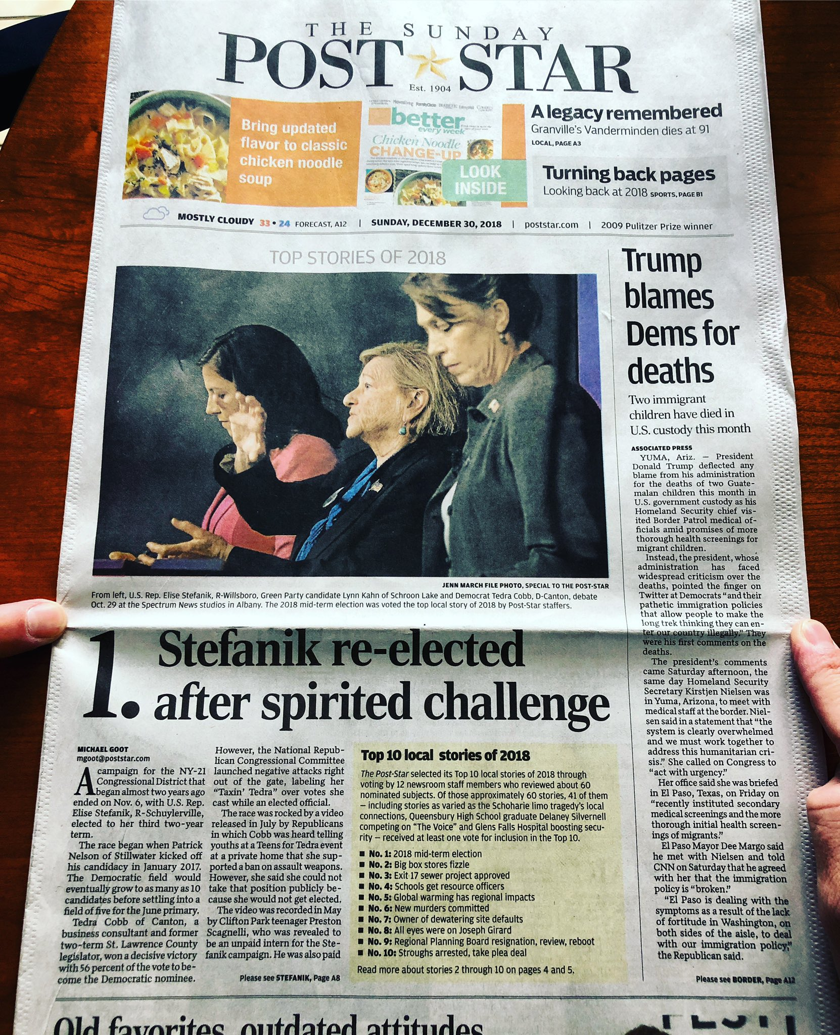 Elise Stefanik On Twitter Todays Poststar Front Page Top Story Of 2018 Thank You To The Supporters Volunteers Staff Constituents For The