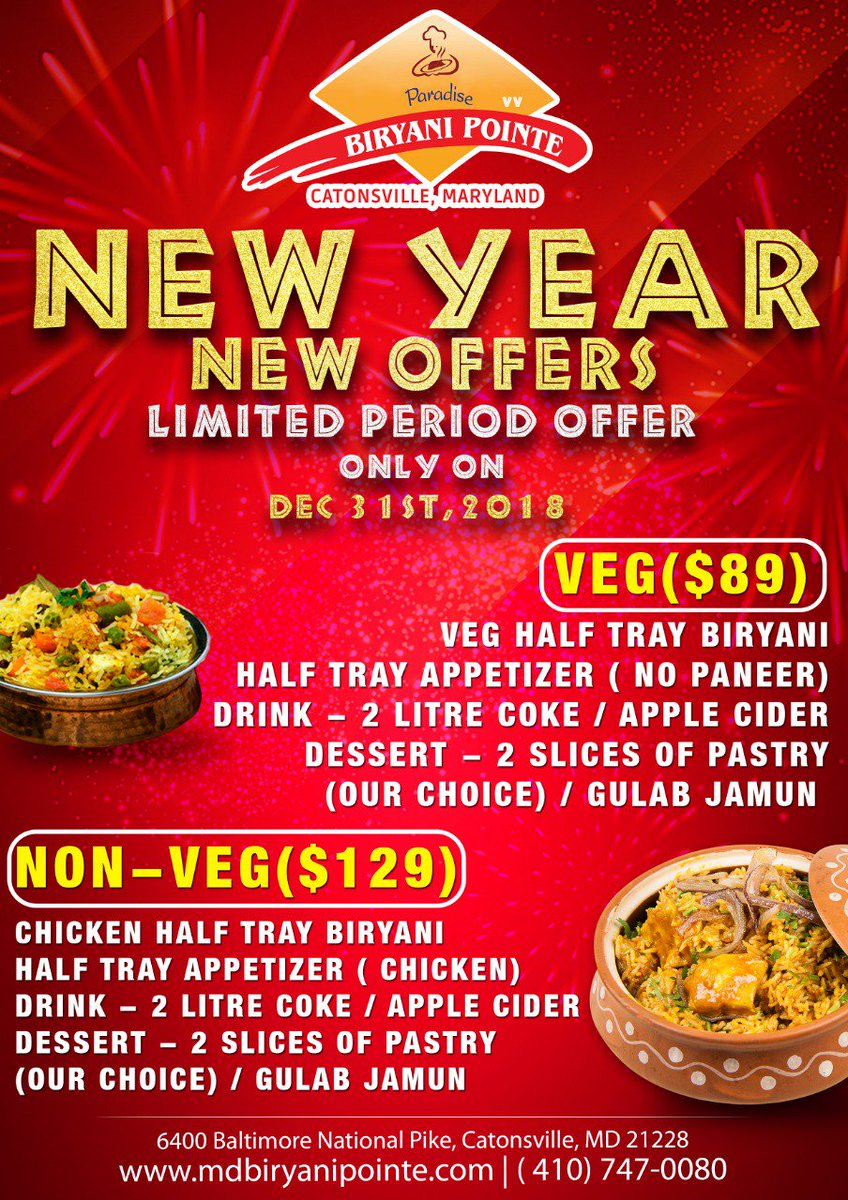 Paradise Biryani On Twitter New Year New Offers This December 31st Is Going To Be Amazing With Our New Year Offers Enjoy Crazy Deals On Our Scrumptious Menu Paradise Biryani Pointe Biryani Please beware of imitators, look for paradise biryani pointe and its trade mark logo on the menu food allergy info: menu paradise biryani pointe biryani