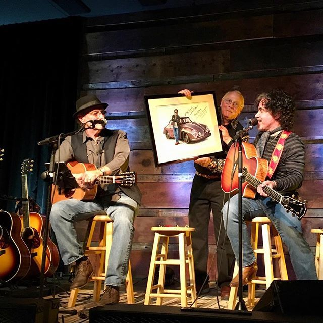Great night playing with @davidstarrmusic at the Grand Mesa Arts & Events Center where I was presented with an original painting of my Emory 356 @porsche done by artist Dale Russell Smith http://bit.ly/2ApaemD