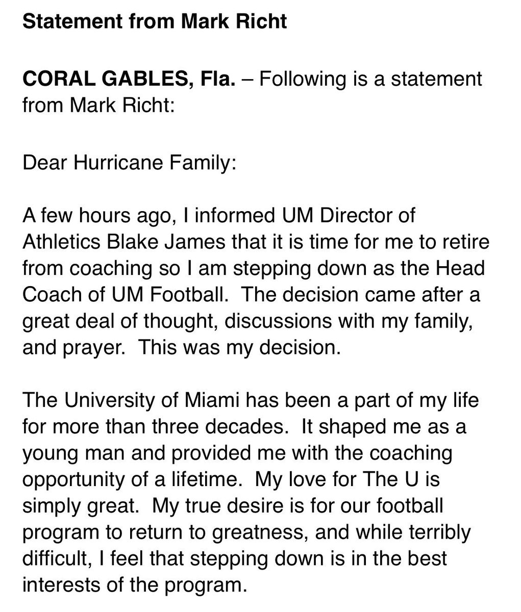 5894846d Mark Richt resigns as Miami's head coach, releases statement